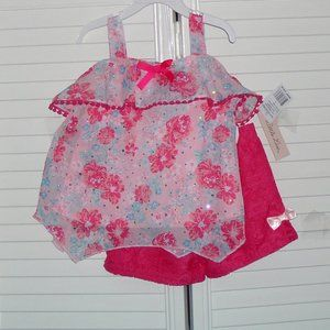 Little Lass Size 5 Pink Floral Print Short Set New